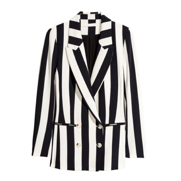c293256af3779 H&M Jackets & Coats | Hm Doublebreasted Striped Blazer Jacket | Poshmark